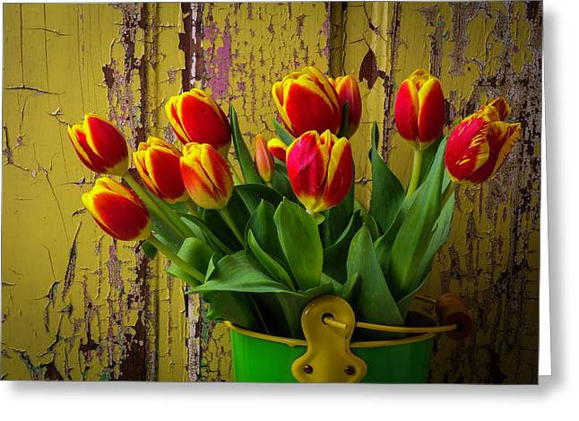 Green Bucket Of Tulips Greeting Card by Garry Gay