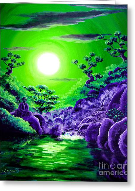 Buddhist Paintings Greeting Cards - Green Buddha Meditation Greeting Card by Laura Iverson