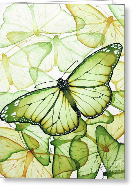 Watercolor. Butterfly Greeting Cards - Green Butterflies Greeting Card by Christina Meeusen