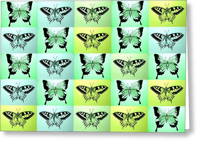 Luna Drawings Greeting Cards - Green butterfly fantasy Greeting Card by Cathy Jacobs