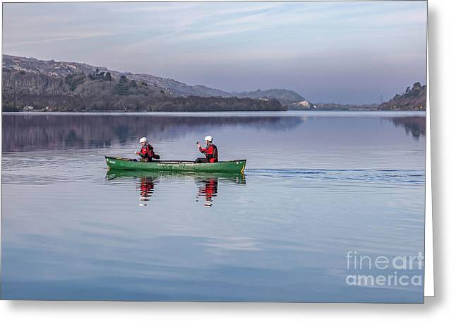 Green Canoe Greeting Card by Adrian Evans