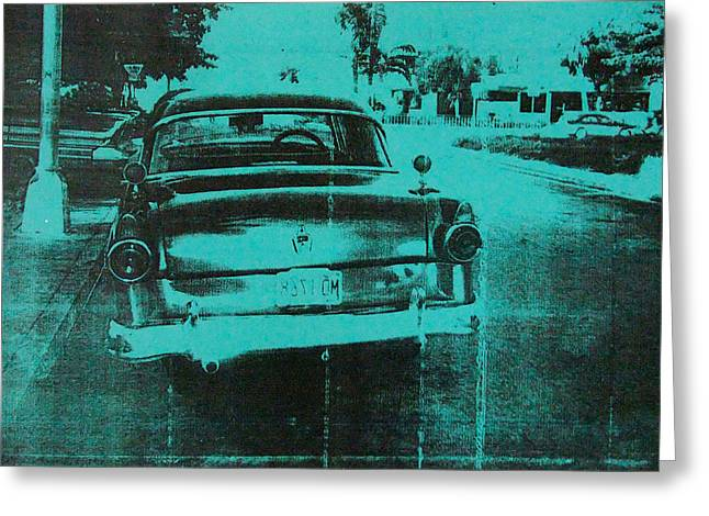Streetlight Greeting Cards - Green car Greeting Card by David Studwell