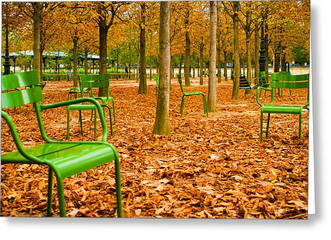 Lonesomeness Greeting Cards - Green Chairs Greeting Card by Sharon Yanai