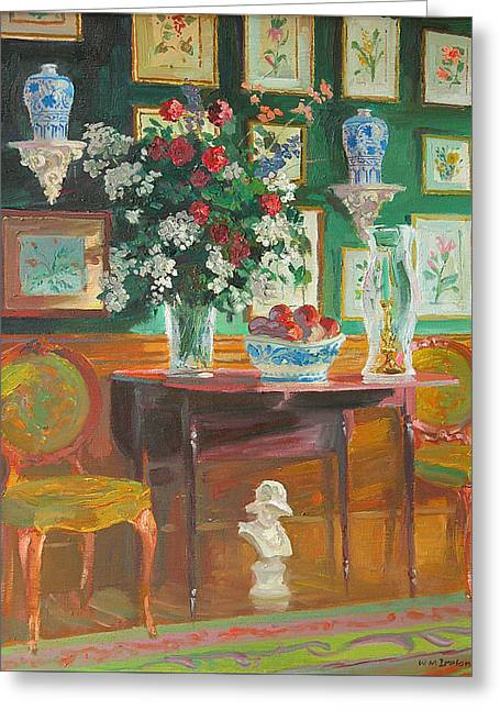 Interior Still Life Paintings Greeting Cards - Green Chairs Greeting Card by William Ireland