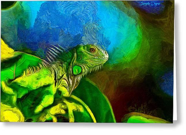 Green Chameleon - Pa Greeting Card by Leonardo Digenio