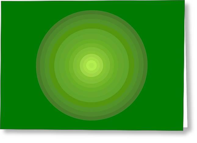 Green Circles Greeting Card by Frank Tschakert