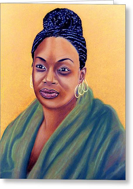 African-americans Pastels Greeting Cards - Green Cloak Greeting Card by Jan Amiss