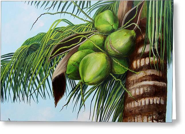 Green Coconuts- 01 Greeting Card by Dominica Alcantara