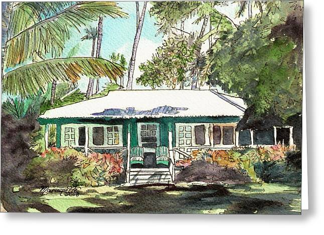 Tropical Island Greeting Cards - Green Cottage Greeting Card by Marionette Taboniar