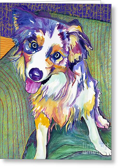 Portaits Mixed Media Greeting Cards - Green Couch    Greeting Card by Pat Saunders-White