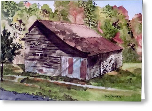 Jean Blackmer Greeting Cards - Green Creek Barn Greeting Card by Jean Blackmer