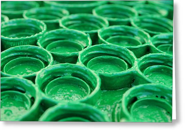 Bottlecaps Greeting Cards - Green Greeting Card by Dan Holm