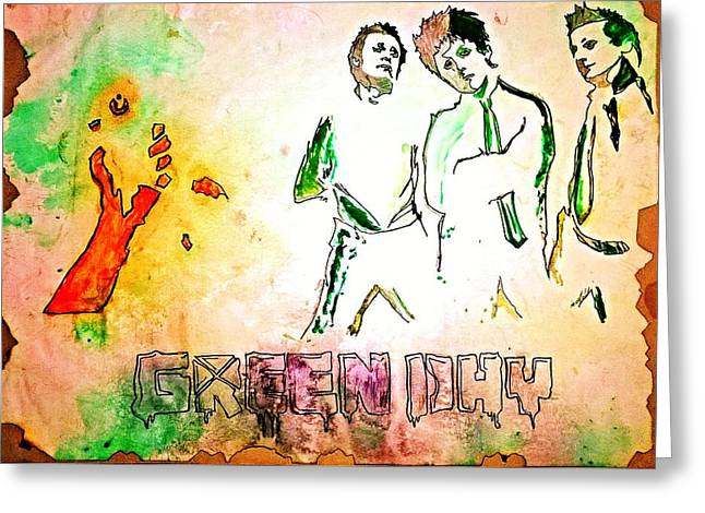 Green Day Paintings Greeting Cards - Green Day Greeting Card by Ajay