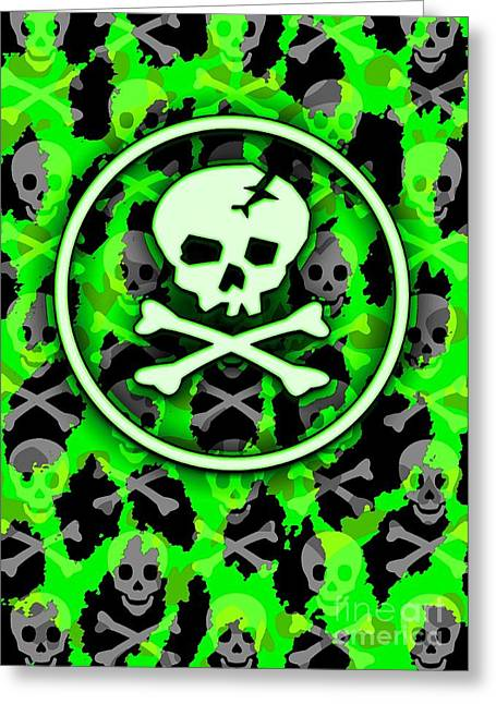 Crossbones Greeting Cards - Green Deathrock Skull Greeting Card by Roseanne Jones