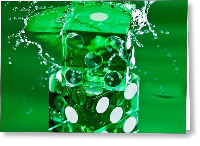 Green Dice Splash Greeting Card by Steve Gadomski