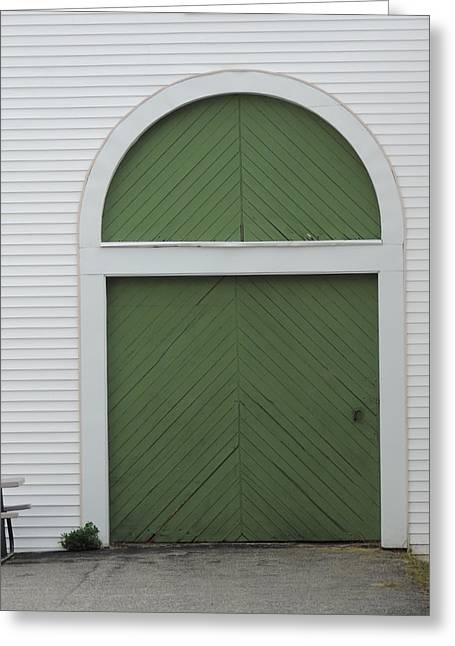 Old Maine Houses Greeting Cards - Green Door Arch Greeting Card by Bill Tomsa