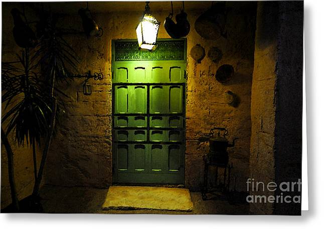 Doorway Digital Greeting Cards - Green Door Greeting Card by David Lee Thompson