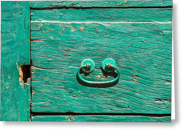 Italian Wine Greeting Cards - Green Door Handle of Tuscany Greeting Card by David Letts