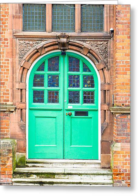 Development Greeting Cards - Green door Greeting Card by Tom Gowanlock