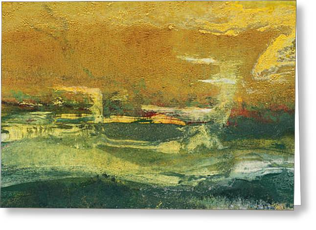 Edge Mixed Media Greeting Cards - Green Edge Greeting Card by Pat Saunders-White