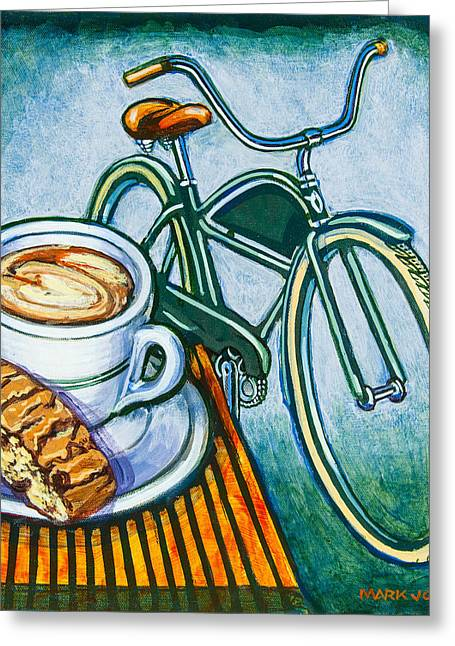 Capuccino Greeting Cards - Green Electra Delivery Bicycle Coffee and biscotti Greeting Card by Mark Howard Jones