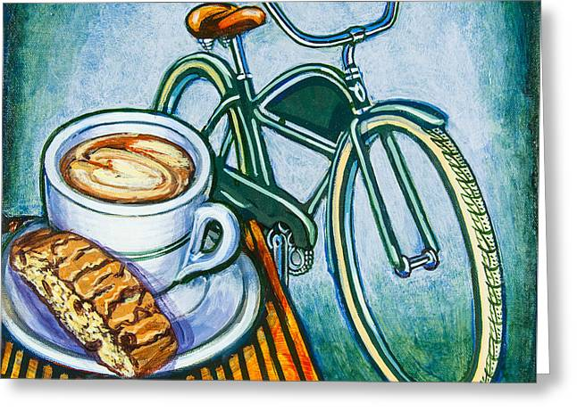 Mark Howard Jones Greeting Cards - Green Electra Delivery Bicycle Coffee and biscotti Greeting Card by Mark Howard Jones
