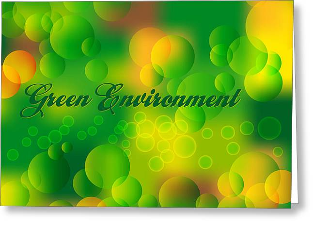 Blur Drawings Greeting Cards - Green Environment Greeting Card by Alain De Maximy