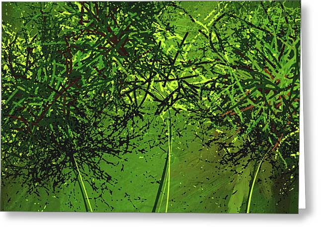 Green Explosions - Green Modern Art Greeting Card by Lourry Legarde