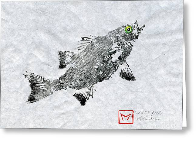 Tennessee River Paintings Greeting Cards - Green Eye White Bass  Greeting Card by Matt Monahan