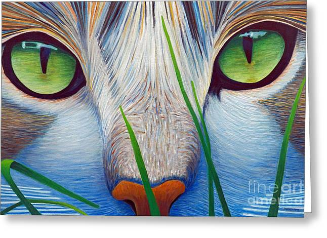 Eyes Paintings Greeting Cards - Green Eyes Greeting Card by Brian  Commerford