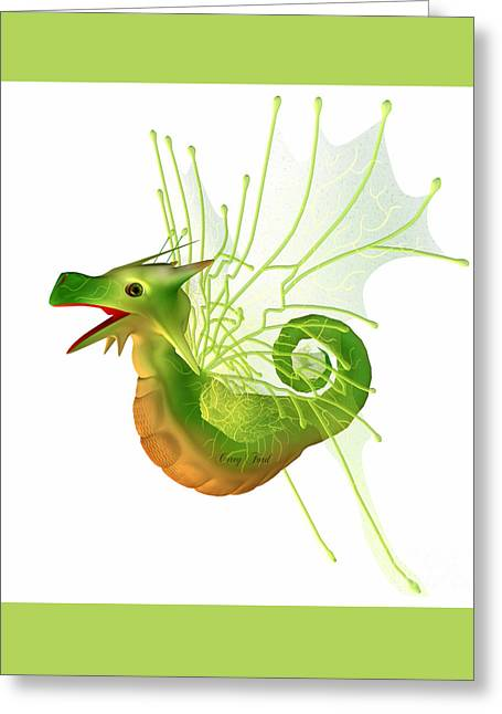 Faerie Tale Greeting Cards - Green Faerie Dragon Greeting Card by Corey Ford
