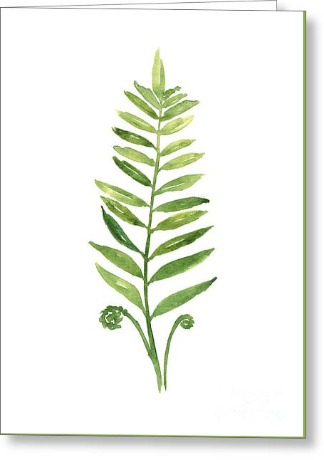 Green Fern Watercolor Art Print Painting Greeting Card by Joanna Szmerdt