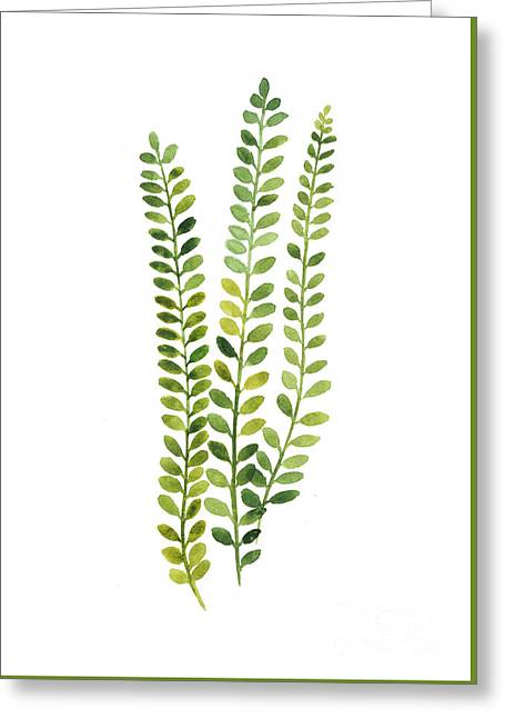 Green Fern Watercolor Minimalist Painting Greeting Card by Joanna Szmerdt