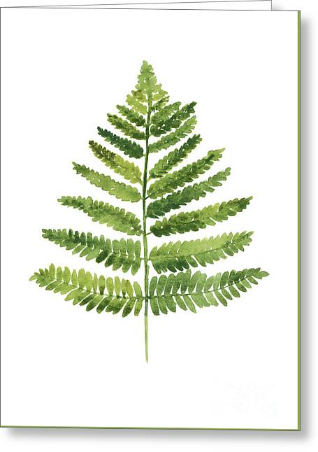 Green Ferns Watercolor Poster Greeting Card by Joanna Szmerdt