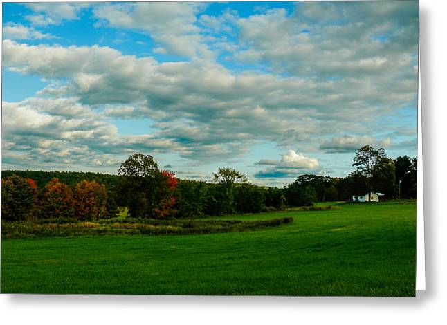 Field. Cloud Greeting Cards - Green fields Greeting Card by Gene Camarco