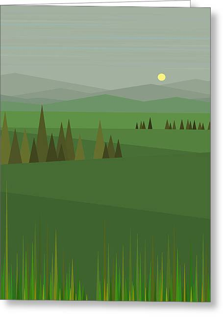 Minimalist Landscape Greeting Cards - Green Fields Greeting Card by Val Arie