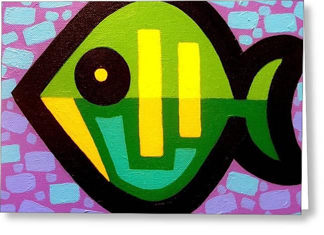 Fish Print Greeting Cards - Green Fish Greeting Card by John  Nolan