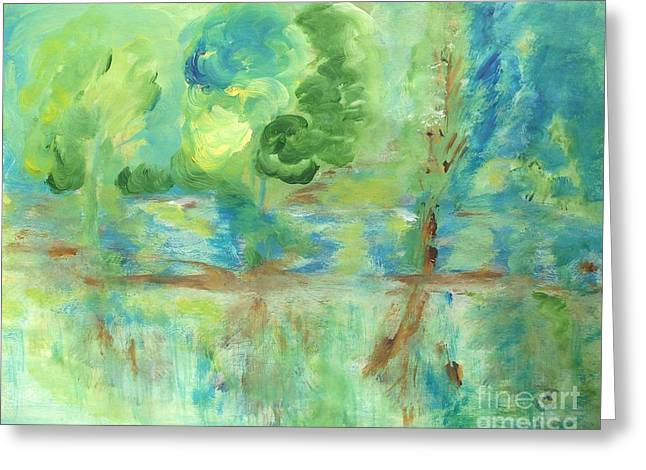Spring Floods Paintings Greeting Cards - Green Flood Greeting Card by Elena  Ivanova