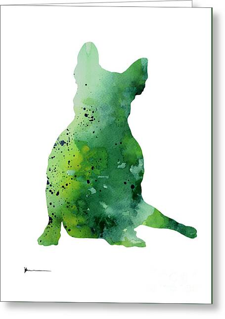 Green French Bulldog Watercolor Art Print Painting Greeting Card by Joanna Szmerdt