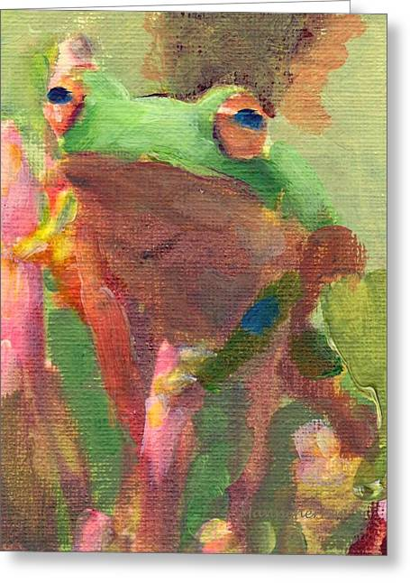 Tree Frog Greeting Cards - Green Frog Greeting Card by Melissa Herrin