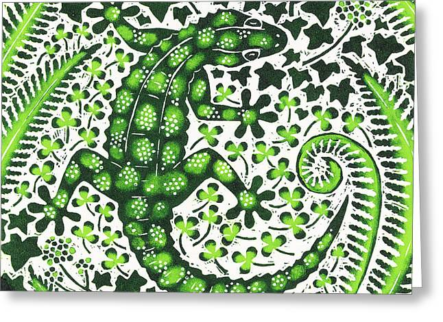 Light And Dark Drawings Greeting Cards - Green Gecko Greeting Card by Nat Morley