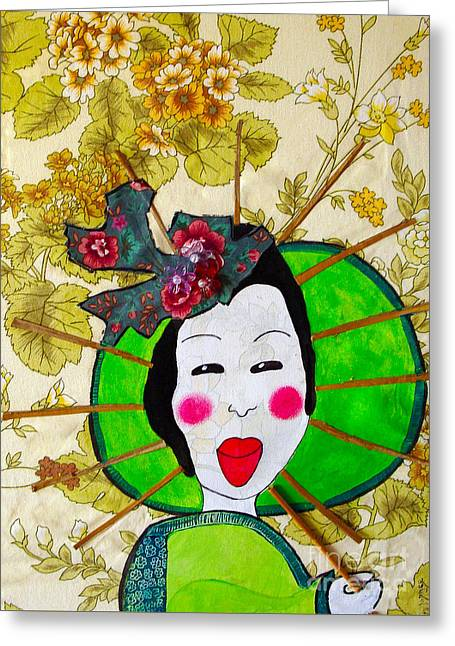 Concubine Mixed Media Greeting Cards - Green Geisha Greeting Card by Kim Magee ART