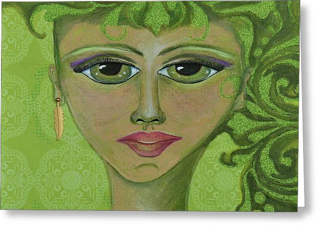Green Genie Greeting Card by Donna Blackhall