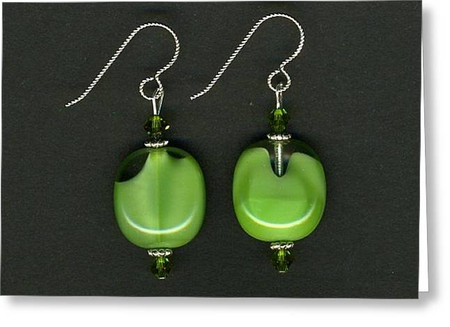 Apple Jewelry Greeting Cards - Green Glass Bead Earrings-jewelry Greeting Card by Althea Morgan-Campbell
