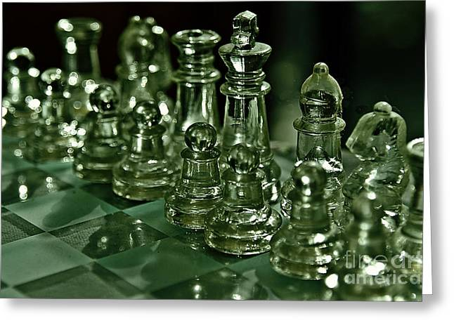 Eerie Greeting Cards - Green Glass Reflections Greeting Card by JW Hanley