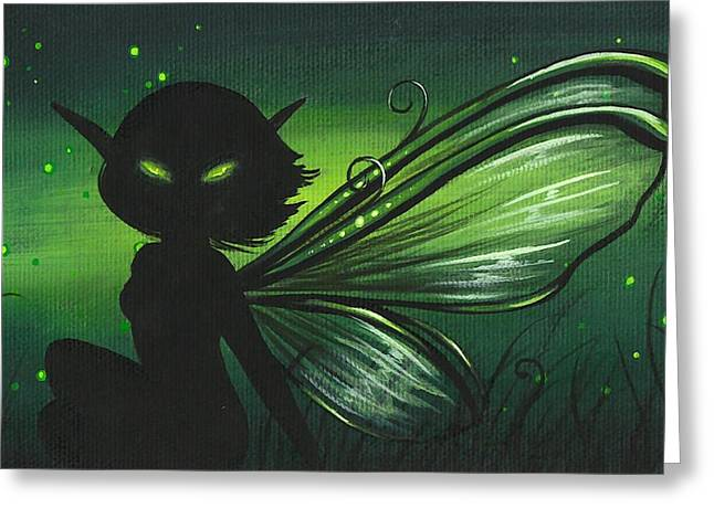 Fairies Greeting Cards - Green Glow Greeting Card by Elaina  Wagner