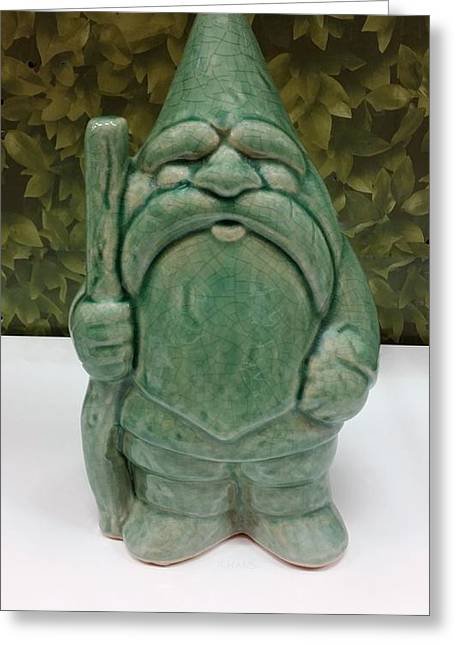 Kid Sculptures Greeting Cards - Green Gnome Greeting Card by Rob Hans