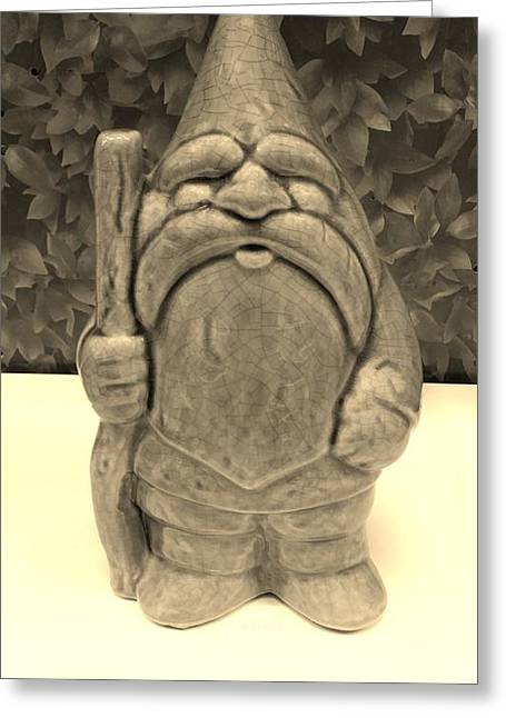 Kids Sculptures Greeting Cards - Green Gnome Sepia Greeting Card by Rob Hans