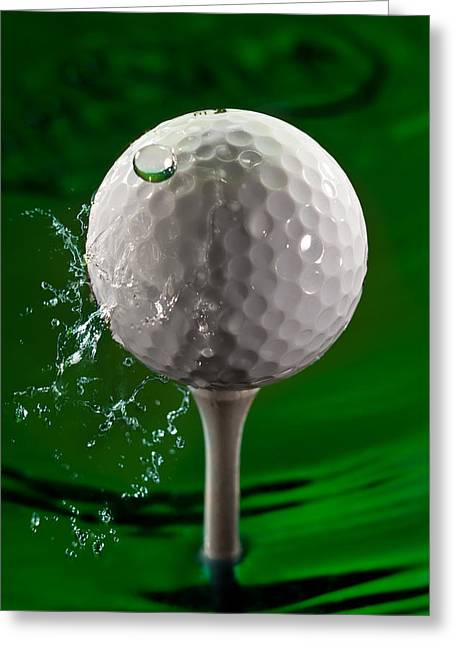 Golf Photographs Greeting Cards - Green Golf Ball Splash Greeting Card by Steve Gadomski