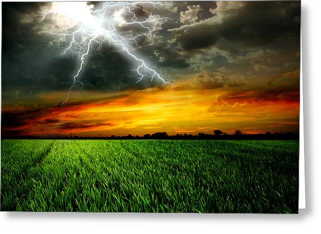 Green Grass Against A Stormy Sky Greeting Card by Unknow